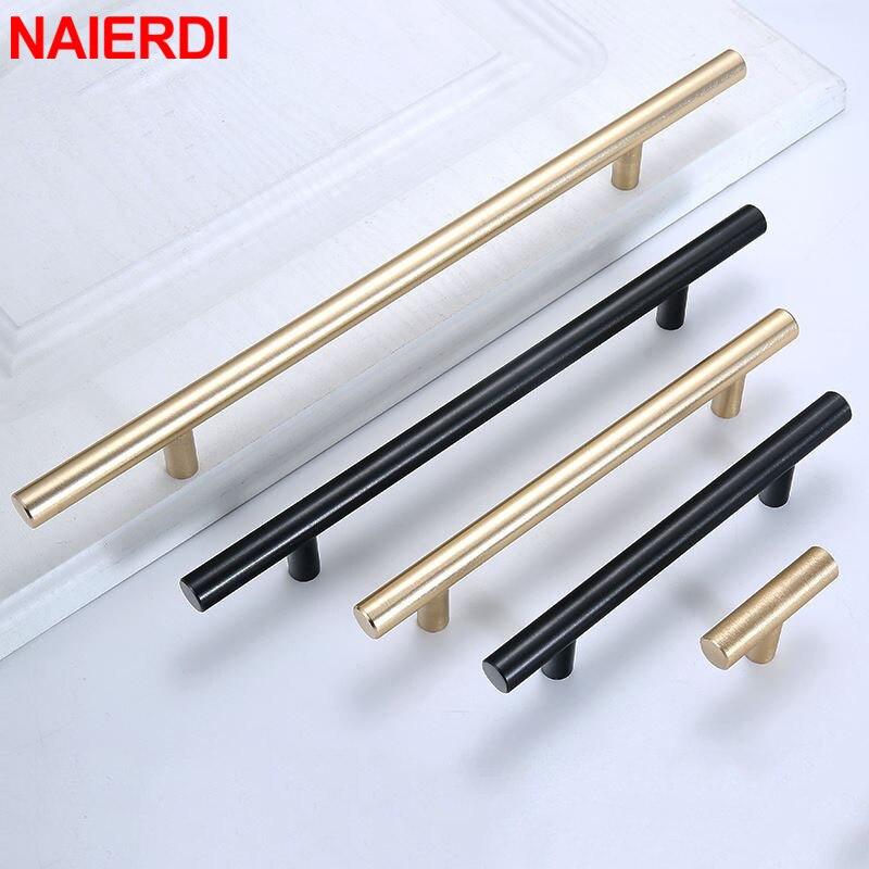 Матовые дверные ручки NAIERDI чёрного, золотого цвета из нержавеющей стали, прямые ручки для шкафов, круглые ручки, мебельные ручки, фурнитура
