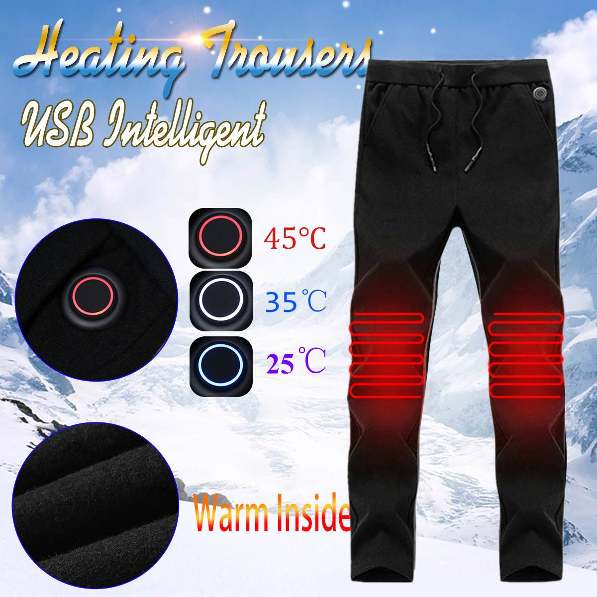 2c9bf0cea415f Men Women Outdoor Heating Pants Trousers High Waist Leggings Trousers Slim  Thickened USB Charging Pants For