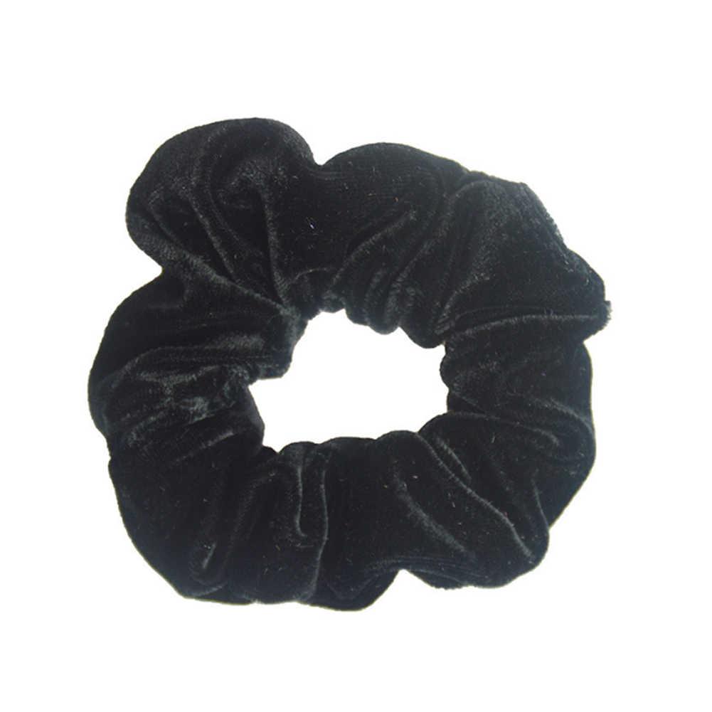 Аксессуары для волос женские модные роскошные мягкие бархатные резинки для волос Твердые очаровательные конский хвост держатель эластичные темно-фиолетовые резинки для волос