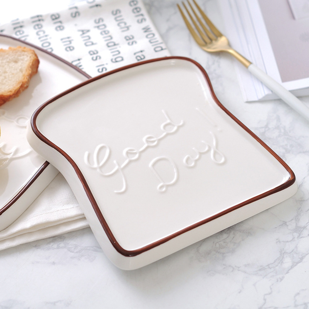 Creative Ceramic Toast Shaped Dinner Plate Porcelain Bread Salad Dessert Plate Morning Dish for Kitchen Party Restaurant