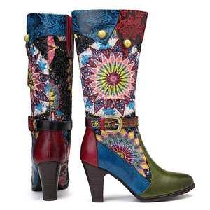 Image 5 - Socofy Retro Böhmischen Mitte wade Stiefel Frauen Schuhe Frau Echtem Leder Cowgirl Stiefel Vintage Zipper Block High Heels 2020