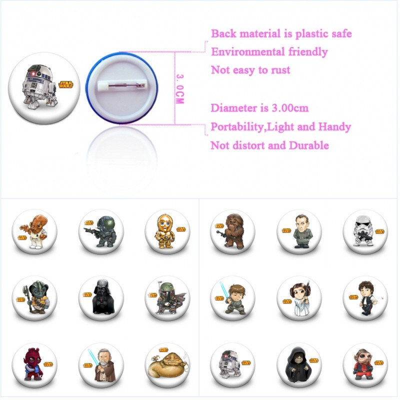 18pcs Star Wars Cartoon Cute Pins Printed Badges Round Brooch 3.0cm Buttons Clothes/Bags Accessory Kid Gift Party Supply