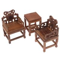 1/6 Wooden Miniature 2pcs Armchair + End Table Living Room Dollhouse Furniture Model Doll House Accessories Decoration Toys