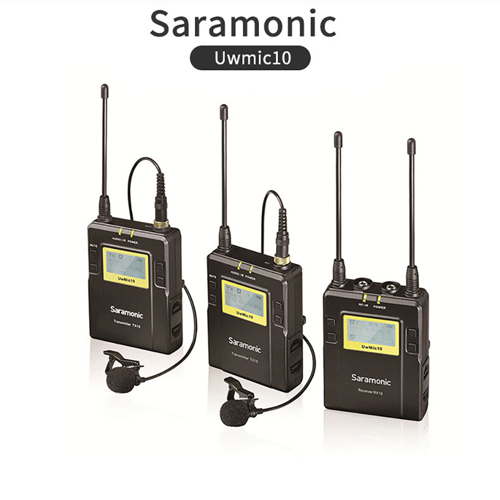 Saramonic UWMIC10 Broadcast UHF Camera Wireless Lavalier Microphone System Transmitters One Receiver for DSLR Camcorder Mic