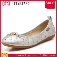 TIMETANG Women Shoes Plus Size 34 45 Round Toe Flat Shoes Woman Soft Sole Foldable Ballet Shoes Women's Flats Fashion TravelC341
