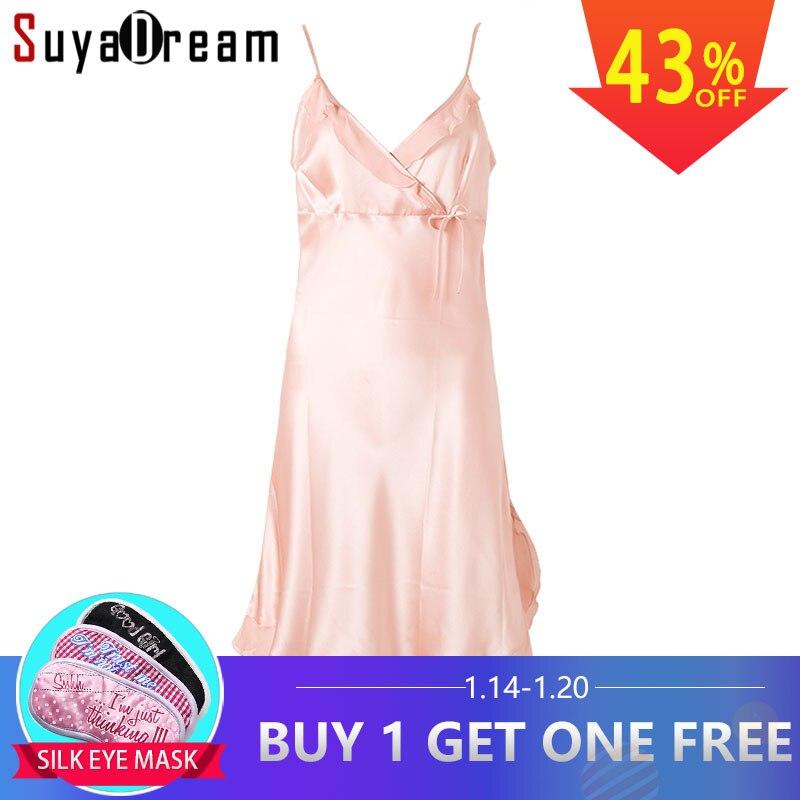100% чистый шелк ночные рубашки женские сексуальные пижамы домашние платья шелковая ночная рубашка атласная ночная рубашка Летний стиль пла...