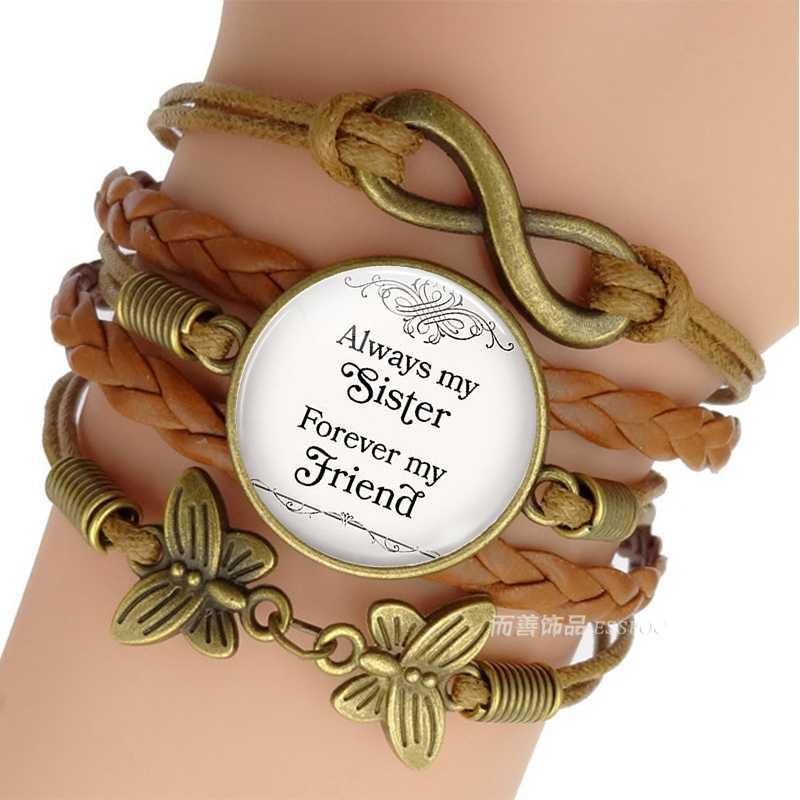 8259760de536 Siempre mi hermana para siempre mi amigo amistad marrón multicapa pulsera  tejida de los hombres de