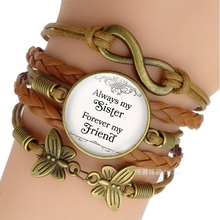 Always My Sister Forever My Friend Friendship Brown Multilayer Woven Bracelet Men Women Fashion Sister Jewelry my sister page 9