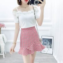 2019 Summer New Design Women Sweet Love Sets Korea Suit Sweater Knitwear Top & Grid Fishtail Skirts Outfit 2 Pcs Set Girl S M L