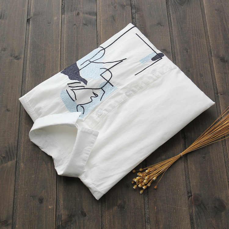 [EWQ] 2019 Primavera Bordado Longo-Lapela Single-breasted Camisa de mangas compridas Solto Tendência Da Moda Das Mulheres de Todos Os Match Verão blusa QF784