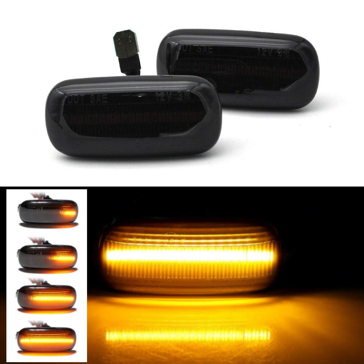 2pcs Dynamic LED Side Marker Turn Signal Light Black/White Color Blinker Light for Audi A3 8P A4 S4 RS4 B6 B7 A6 C5 TT A8 C5