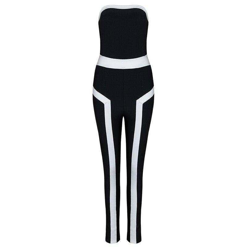 Noir Blanc Élastique Long Moulante Sexy Voir Bandage Automne Pantalon Spandex Combinaisons Femmes Bretelles 2017 Barboteuses Sans Orange 5Eqxwn7F4