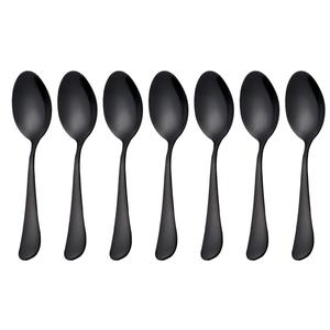 Black Mini stainless steel cake spoons small teaspoons set
