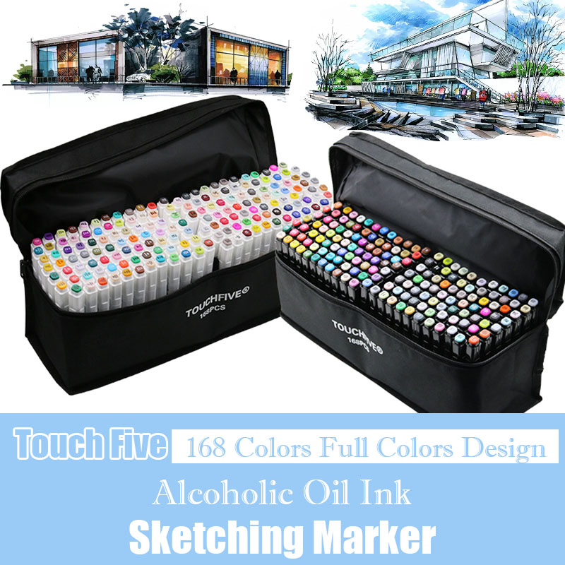 TouchFIVE 168 Colors Oily Alcohol Based Art Markers Set Dual Headed Sketch Marker Artist Brush Pen For Manga Design Art Supplies