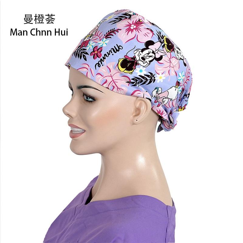 Women Pathologists Nursing Caps Surgical Work Medical Hats Therapy Nurse Medicine Hat 100% Cotton Tieback Adjustable