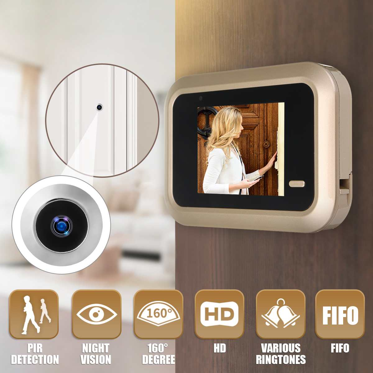 2.4 Inch LCD Digital Video Doorbell Viewer Security Door Eye Monitoring Camera Lithium Battery USB  Security  Camera