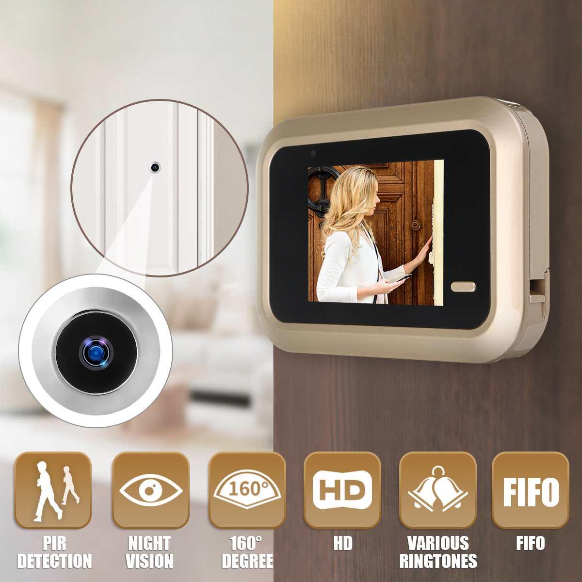 2.4 Inch LCD Digital Video Doorbell Viewer Security Door Eye Monitoring Camera Lithium Battery USB  Security  Camera
