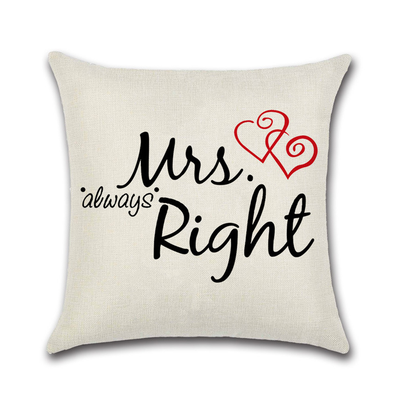 Mr Amp Mrs Cushion Cover Cotton Linen Pillow Case Sofa Waist