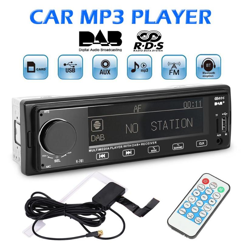 VODOOL K701 DAB Car Radio Stereo MP3 Player 1Din Autoradio Bluetooth RDS AM FM Radio AUX