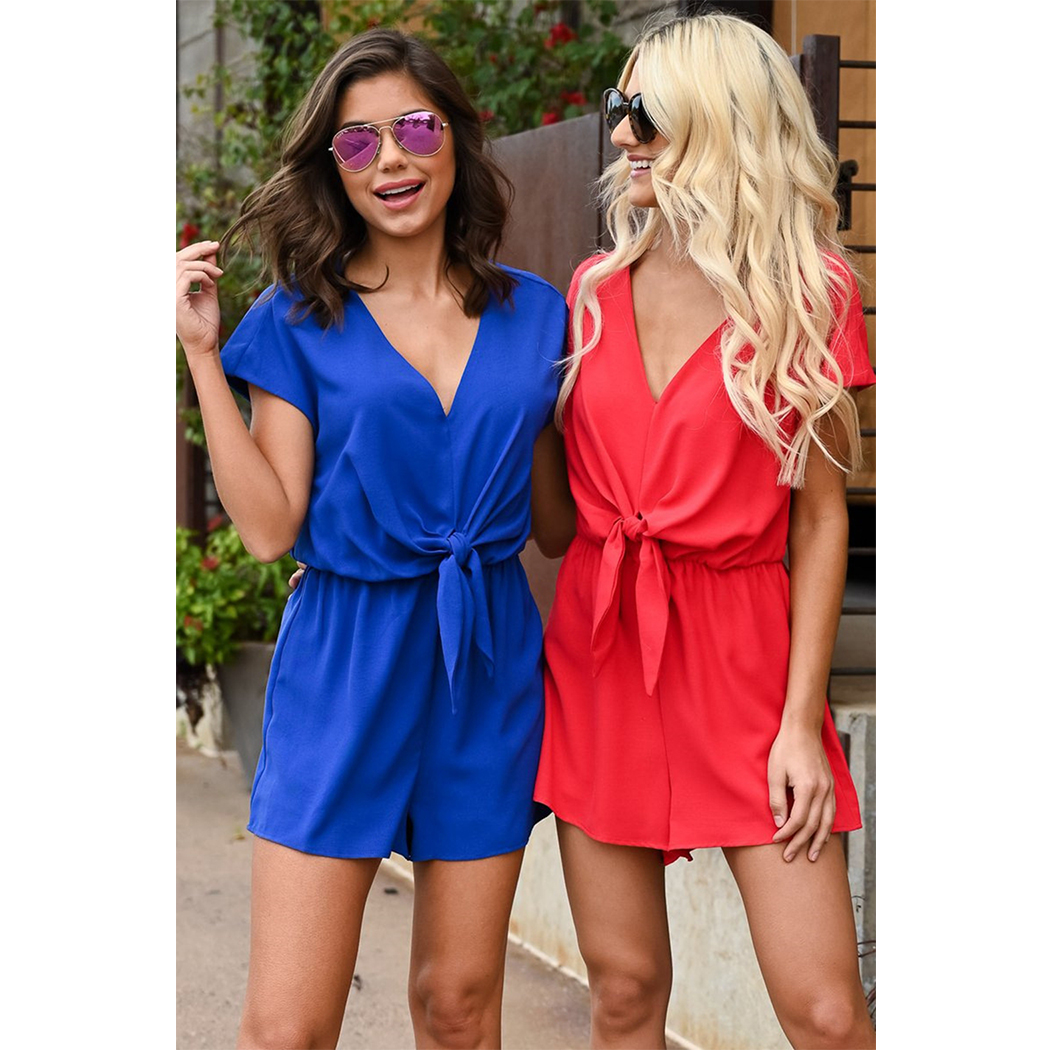 New Summer Women Playsuit   Rompers   Sexy V-Neck Lace Up Bow Playsuits Short Jumpsuit Casual Female Boho Beach Bodysuit Overalls