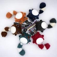 DDWE 18 см женский брелок с помпоном из меха брелок с плюшевой игрушкой модный телефонный ключ с хвостом медведя плюшевый большой хвост подарок ювелирные изделия