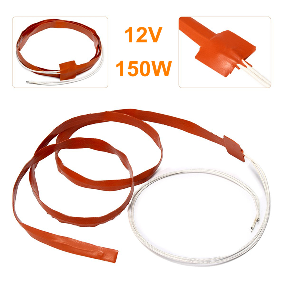 1.2m 150W 12V WVO Intake Pipe Injection Line Manifold Heater Silicone Heat Strip Heating System Pipeline Thawing Heating Belt