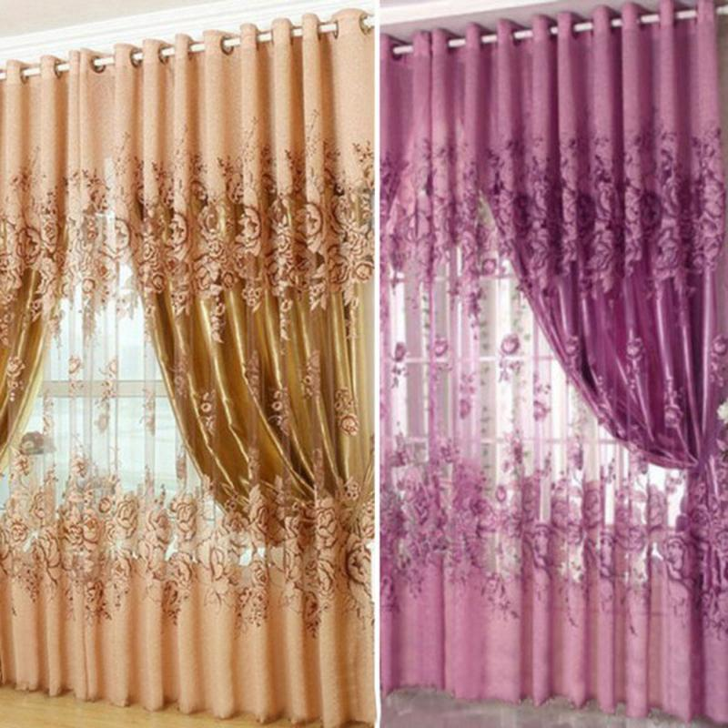 Voile Curtains Valances Tulle Sheer Home-Decor European Peony-Pattern 1x2.5m Hot 1/2pcs title=