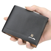 2019 Wallet Mens Lychee Pattern Short Section Pu Leather Cross Drivers License Leisure