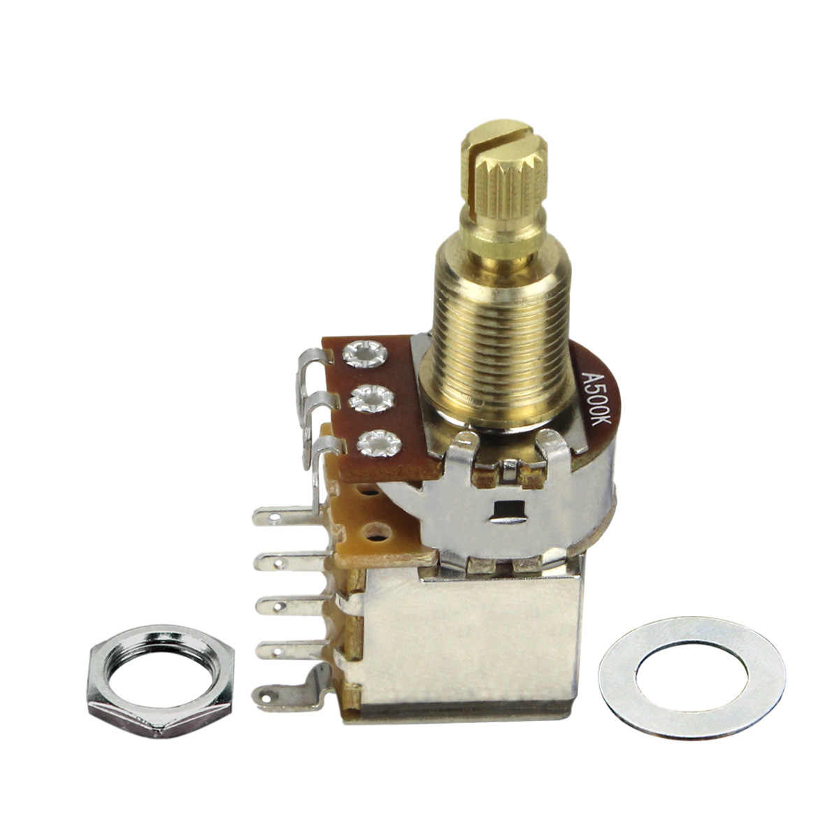 FLEOR guitare basse Audio cône A500K pousser potentiomètre & DPDT interrupteur cuivre Long Split arbre Pot