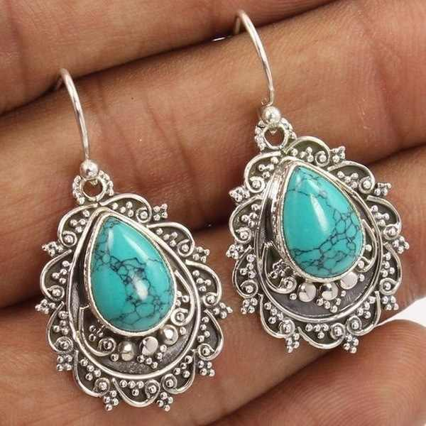 Mosaic Turquoise Drop Earrings Brincos Retro Thai S925 Silver Bizuteria Kolczyki for Women Boucle D Oreille Perle Drop Earrings