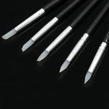 5pcs Nail Art Pen Brush Silicone Carving Craft Hollow Out Emboss Shaping Manicure Dotting Tools Soft Make Up Pen Tools