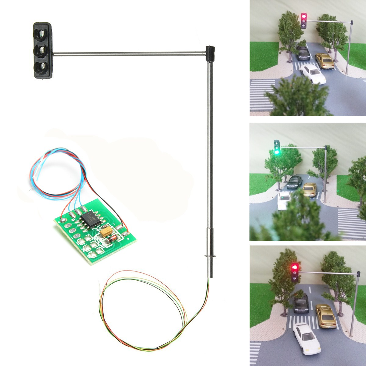Traffic Light Signal Model HO OO Scale Train Railway Miniatures DIY Scale Construction Sand Table Model With Circuit Board