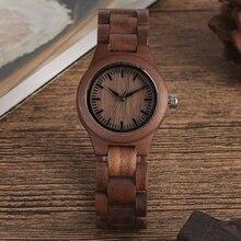 Reloj de madera de nogal para mujer, reloj femenino de pulsera de madera ajustable, con esfera pura Simple, estilo Retro