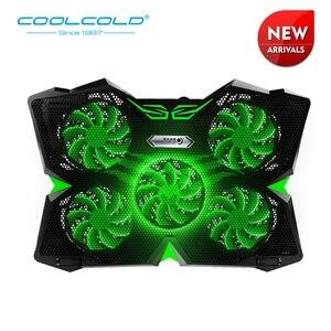 Охлаждающая подставка COOLCOLD для ноутбука, 5 светодиодный вентилятор, USB 2,0, кулер с шелковой печатью, дизайн для ноутбука 12-17 дюймов