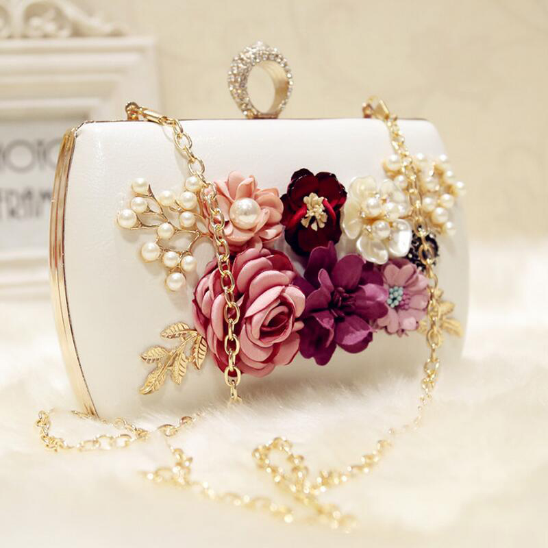 high quality luxury handmade flowers evening bags brand dinner clutch purse with chain flower banquet bags