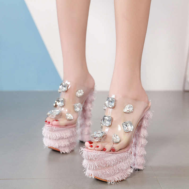 Sexy Heel Slippers Club Transparent Crystal High Heels Female Sandals Slippers Women Slipes