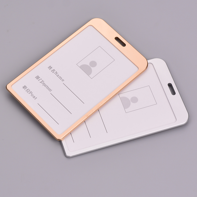1PC Aluminum Alloy Card Holder Business Card ID Badge Holder Vertical Metal ID Business Case
