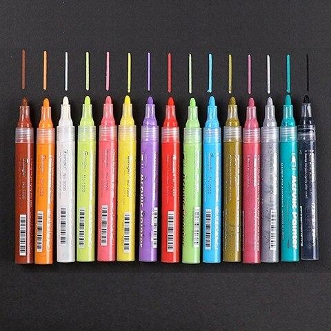 12 15 24 cores acrilico tinta permanente caneta marcadora para o rock ceramica porcelana caneca