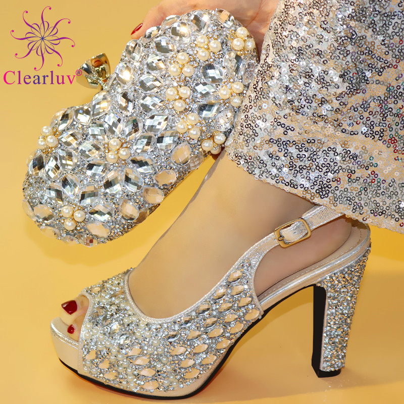 African Shoes And Bag Set Silver Color Elder Women Good Quality Shoe And Bag Italy Shoes And Bag Matching Wedding Shoes And Bag