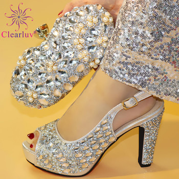 African Shoes and Bag Set Silver Color Elder Women Good Quality Shoe Italy Matching wedding shoes bag - discount item  15% OFF Women's Shoes