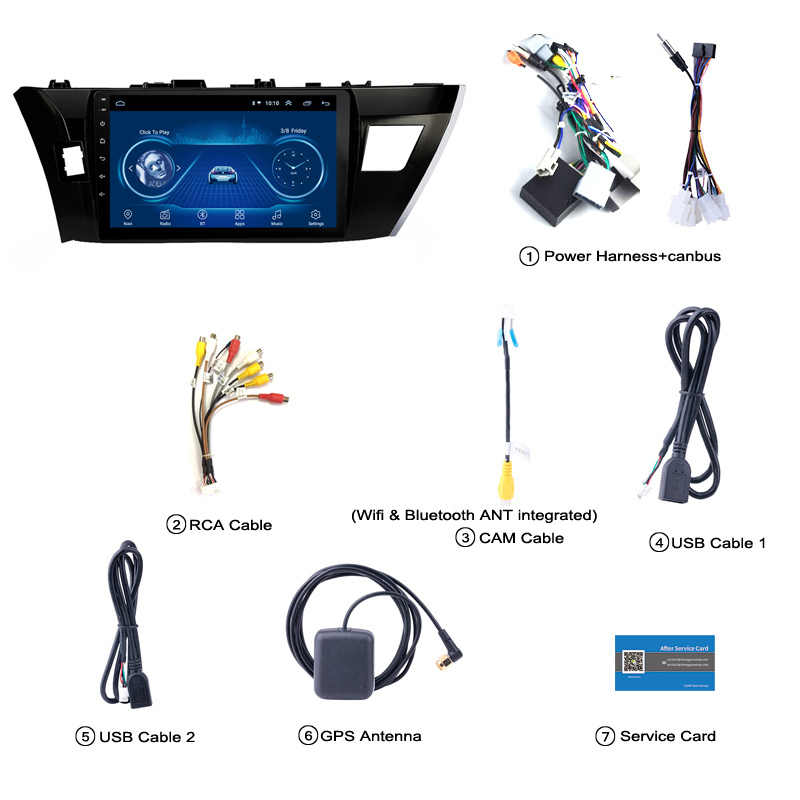 10,1 pulgadas HD LED pantalla táctil completa Android 8,1 navegación GPS para Toyota corolla Lewin 2014-2016 sistema estéreo con Bluetooth