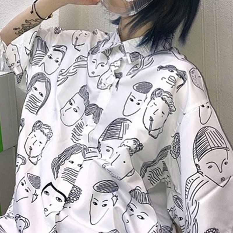 Модные белые рубашки женские летние Харадзюку Корейский мультфильм печати школьный Повседневный Готический свободный пара топ уличная черная длинная рубашка