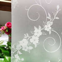 45*200 cm vinyl heat transfer privacy window film,white flowers static decorative glass stickers for bathroom door transparency