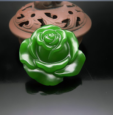 Natural Green  Jade Rose Hand-Carved Lucky Amulet Necklace Pendant