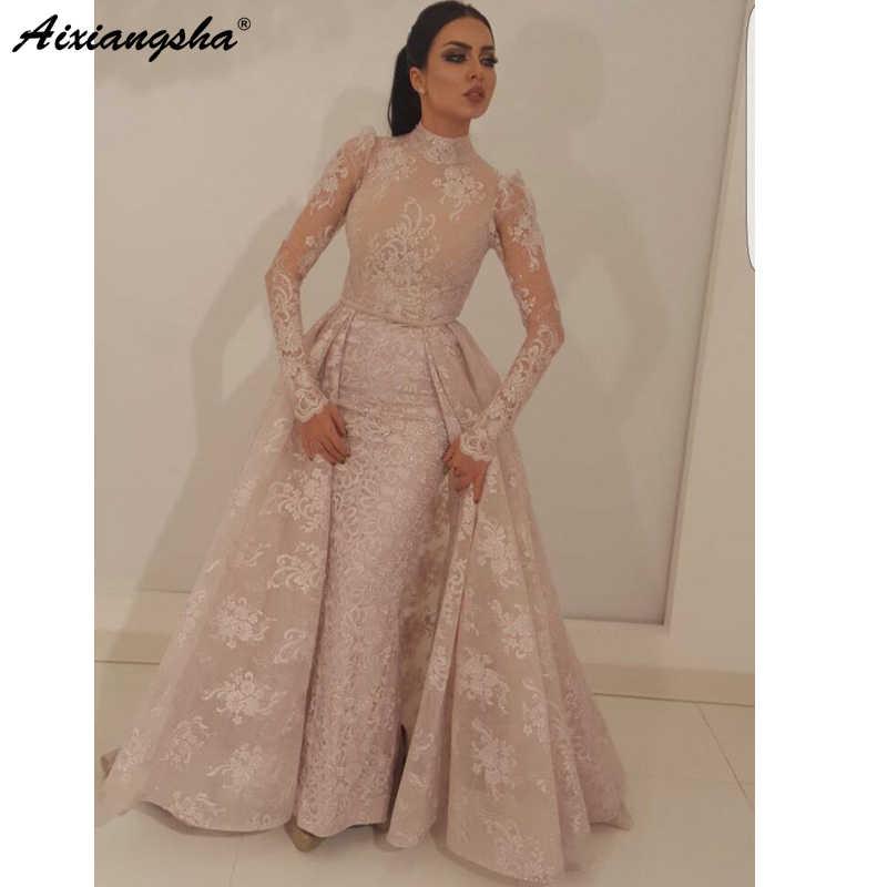92741b963e920 robe de soiree Muslim Evening Dress 2019 Mermaid High Collar Illusion Long  Sleeves Lace Dubai Saudi