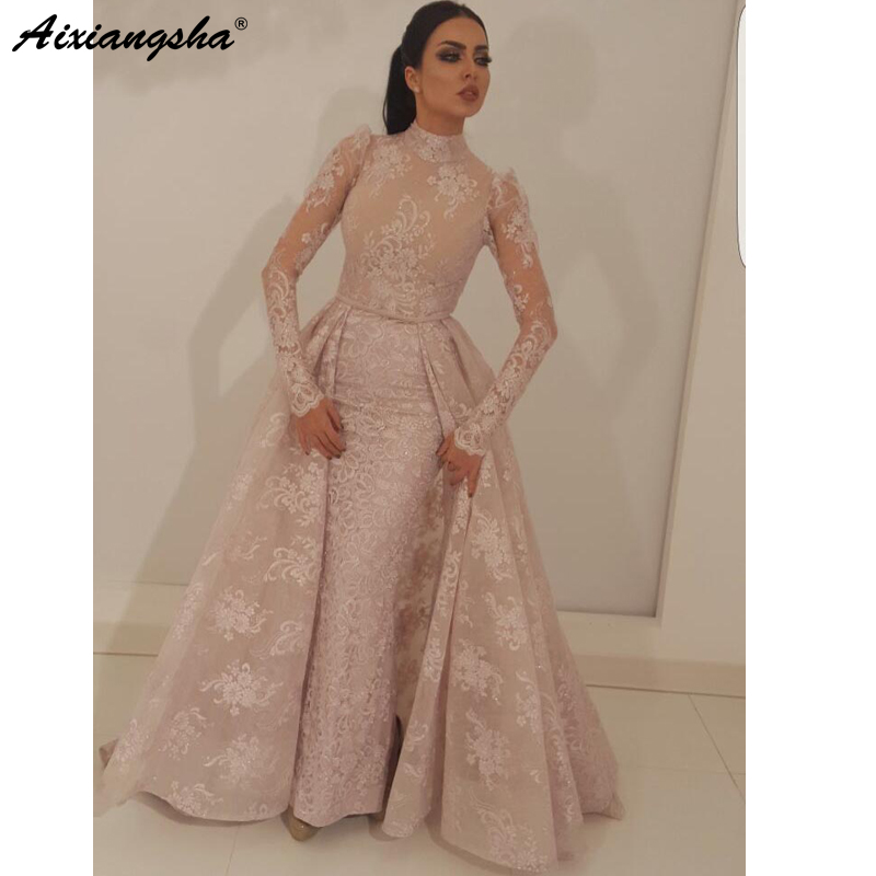 robe de soiree Muslim   Evening     Dress   2019 Mermaid High Collar Illusion Long Sleeves Lace Dubai Saudi Arabic Long   Evening   Gown