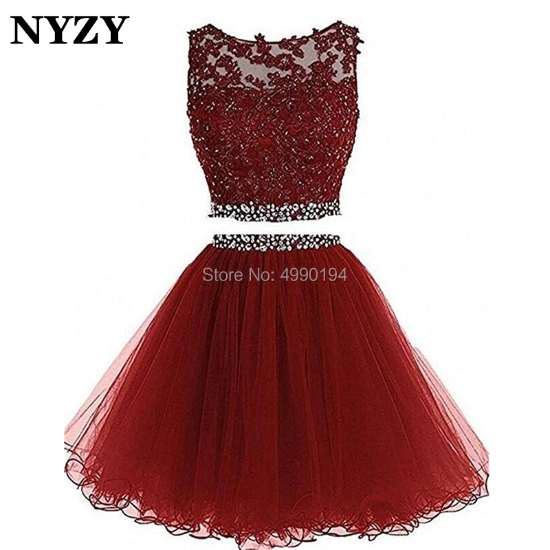 NYZY P54 Real Sample Burgundy Short   Prom     Dress   2 Piece Crystal   Dress   Lace Appliques Tulle Puffy Party   Dress   2019 vestidos coctel