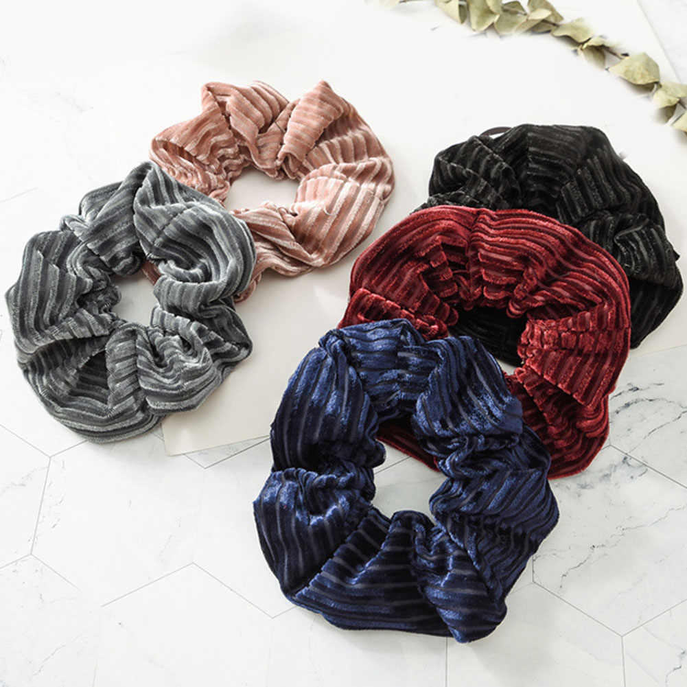 hot sale 1 PC Large Size stripe Velvet Scrunchies Ponytail Holder Tail Wrap Elastic Hair Bands Hair Rope Accessories