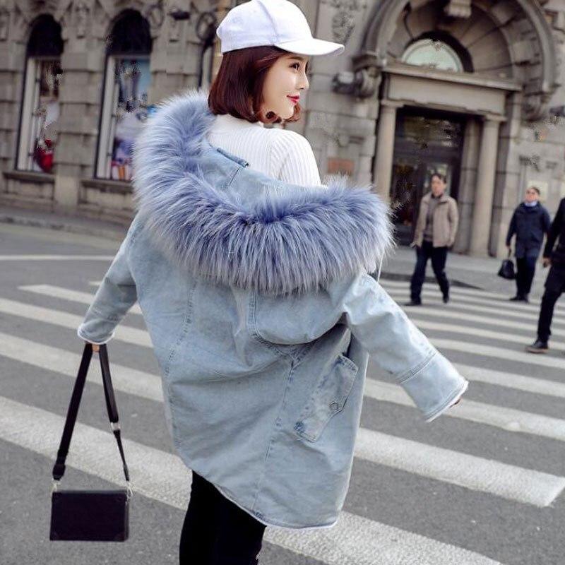 Col D'hiver Femmes Capuche Femelle 2018 Manteau Fourrure Grand Casual Parkas Bleu rose Lâche De À Denim Outwear Coton Veste Épaississement t5qn57pdxw