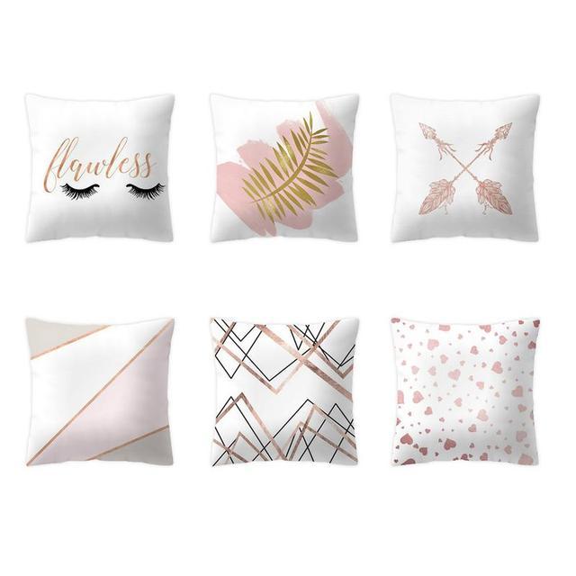Fundas de almohada de oro rosa decoración para el hogar Fundas de cojín decorativo de piña 45x45 para sofá cama # EW